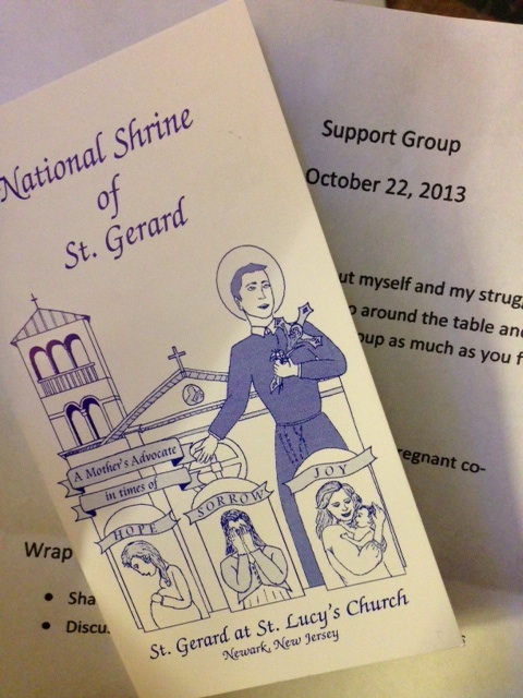 The amazing girl who started this group and ran the meeting went and got all of us St. Gerard prayer books.