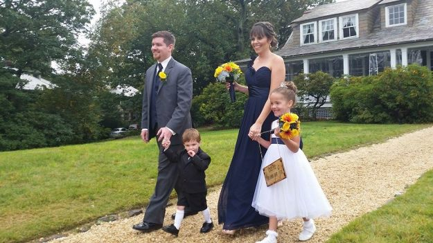 The best man Brian and I walked the ring bearer and flower girl down! how sweet are they?