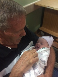 Pop pop and his granddaughter...I'm pretty sure she is thanking him for all the crumb cake he gave me.